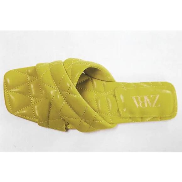 Zara Flat Quilted Sandals Mustard Yellow